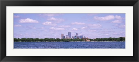 Framed Skyscrapers in a city, Chain Of Lakes Park, Minneapolis, Minnesota, USA Print