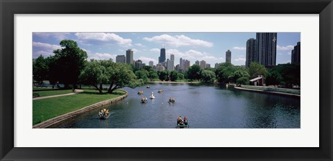 Framed High angle view of a group of people on a paddle boat in a lake, Lincoln Park, Chicago, Illinois, USA Print