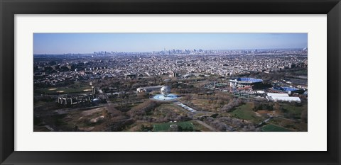 Framed Aerial View Of World's Fair Globe, From Queens Looking Towards Manhattan, NYC, New York City, New York State, USA Print