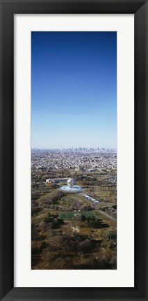 Framed Aerial View Of Worlds Fair Globe, From Queens Looking Towards Manhattan, NYC, New York City, New York State, USA Print