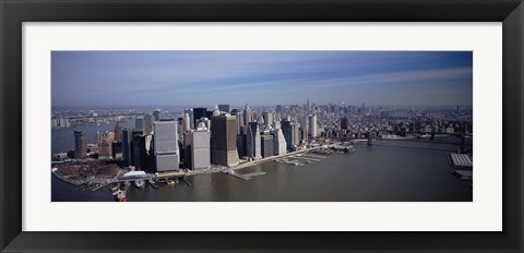 Framed High Angle View Of Skyscrapers In A City, Manhattan, NYC, New York City, New York State, USA Print