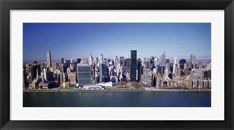Framed Buildings on the waterfront, Manhattan, New York City, New York State, USA Print