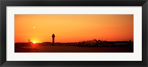 Framed Sunset Over An Airport, O'Hare International Airport, Chicago, Illinois, USA Print