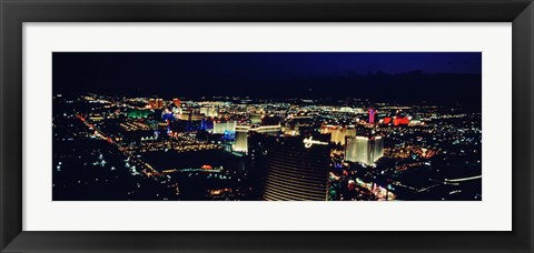 Framed High angle view of a city lit up at night, The Strip, Las Vegas, Nevada, USA Print