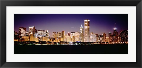 Framed Chicago Lights at Night Print