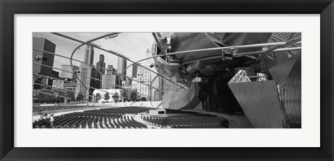 Framed Low Angle View Of Buildings In A City, Pritzker Pavilion, Millennium Park, Chicago, Illinois, USA Print