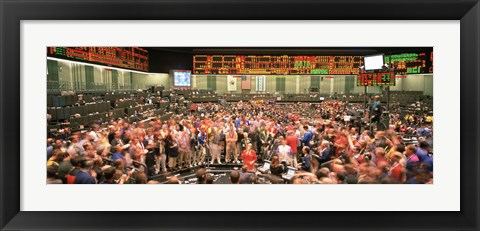 Framed Large group of people on the trading floor, Chicago Board of Trade, Chicago, Illinois, USA Print