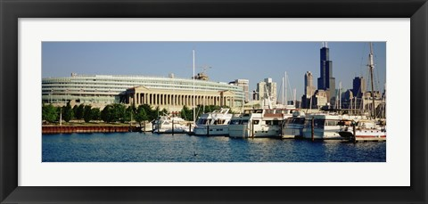 Framed Boats Moored At A Dock, Chicago, Illinois, USA Print