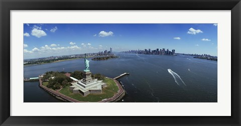 Framed Aerial View of the Statue of Liberty, New York City Print