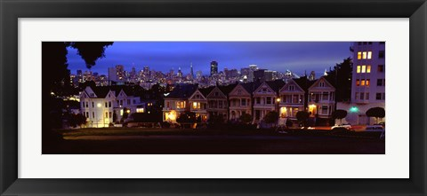 Framed Buildings Lit Up Dusk, Alamo Square, San Francisco, California, USA Print