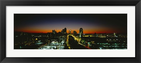 Framed High Angle View Of A City Lit Up At Dawn, St. Louis, Missouri, USA Print