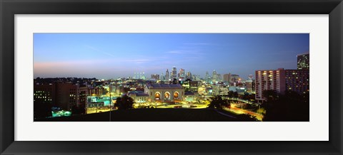 Framed High Angle View Of A City Lit Up At Dusk, Kansas City, Missouri Print