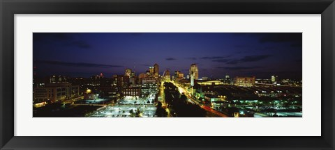 Framed High Angle View Of A City Lit Up At Dusk, St. Louis, Missouri, USA Print