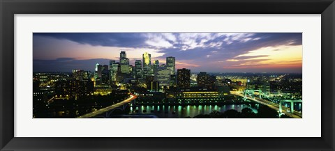 Framed Minneapolis At Dusk, Minnesota Print