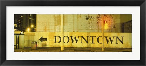 Framed Downtown Sign Printed On A Wall, San Francisco, California Print
