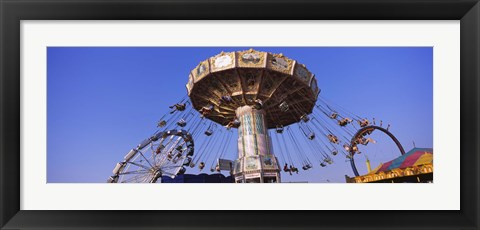 Framed Low Angle View Of A Ride At An Amusement Park, Erie County Fair And Exposition, Erie County, Hamburg, New York State, USA Print