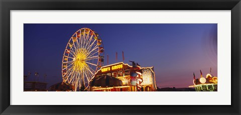 Framed Low Angle View Of A Ferries Wheel Lit Up At Dusk, Erie County Fair And Exposition, Erie County, Hamburg, New York State, USA Print