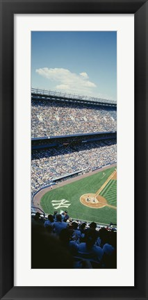 Framed High angle view of spectators watching a baseball match in a stadium, Yankee Stadium, New York City, New York State, USA Print