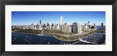 Framed Boats docked at a harbor, Chicago, Illinois, USA Print