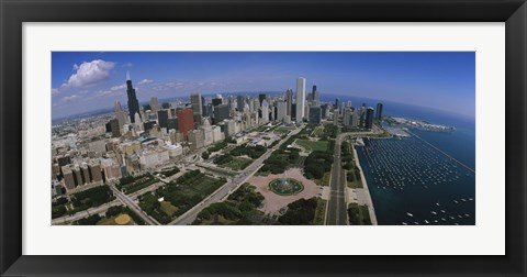 Framed Aerial view of Chicago and the Lake Print