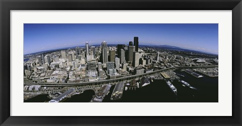 Framed Aerial view of a city, Seattle, Washington State, USA Print