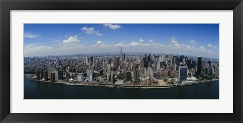 Framed Aerial view of a city, Manhattan, New York City, New York State Print