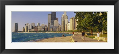 Framed Group of people jogging, Chicago, Illinois, USA Print