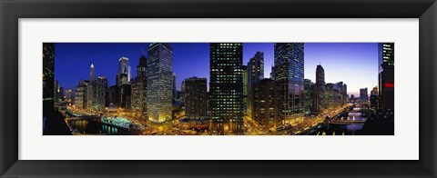 Framed River and Buildings Lit Up At Dusk, Chicago, Illinois Print
