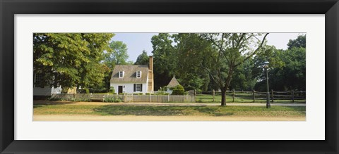 Framed Fence in front of a house, Colonial Williamsburg, Williamsburg, Virginia, USA Print