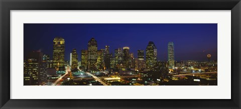 Framed Buildings in a city lit up at night, Dallas, Texas, USA Print