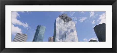 Framed Low angle view of office buildings, Houston, Texas, USA Print
