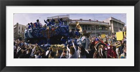 Framed Crowd of people cheering a Mardi Gras Parade, New Orleans, Louisiana, USA Print