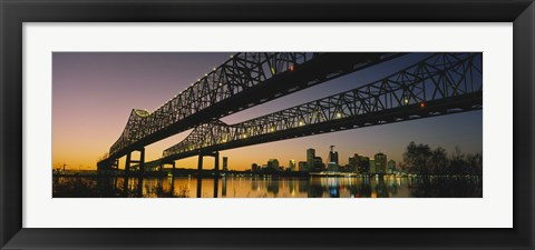 Framed Low angle view of a bridge across a river, New Orleans, Louisiana, USA Print