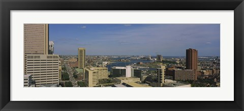 Framed High angle view of skyscrapers in a city, Baltimore, Maryland, USA Print