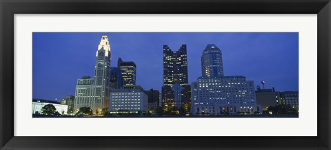 Framed Low angle view of buildings lit up at night, Columbus, Ohio, USA Print