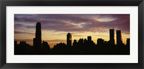 Framed Silhouette of skyscrapers at sunset, Manhattan, New York City, New York State, USA Print