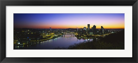 Framed Pittsburgh Sunset over Buildings Print