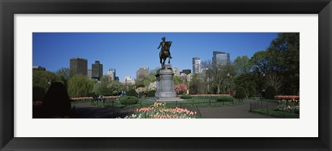 Framed Statue in a garden, Paul Revere Statue, Boston Public Garden, Boston, Suffolk County, Massachusetts, USA Print