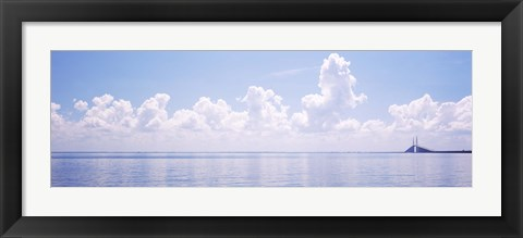 Framed Seascape with a suspension bridge in the background, Sunshine Skyway Bridge, Tampa Bay, Gulf of Mexico, Florida, USA Print