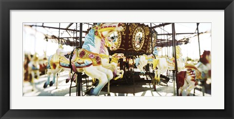 Framed Close-up of carousel horses, Coney Island, Brooklyn, New York City, New York State, USA Print