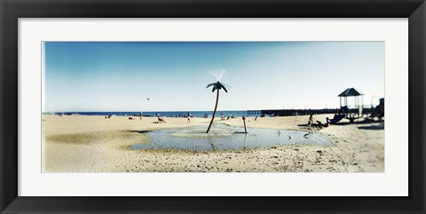 Framed Palm tree sprinkler on the beach, Coney Island, Brooklyn, New York City, New York State, USA Print