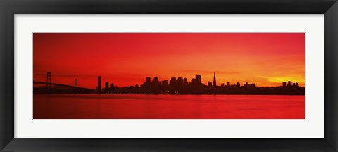 Framed San Francisco silhouette (red), California Print
