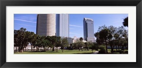 Framed Buildings in a city viewed from a park, Plant Park, University Of Tampa, Tampa, Hillsborough County, Florida, USA Print