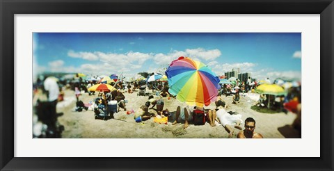 Framed Bright Umbrella on Coney Island Print