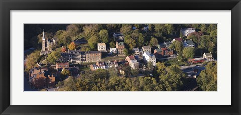 Framed Buildings in a town, Harpers Ferry, Jefferson County, West Virginia, USA Print