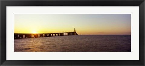 Framed Bridge at sunrise, Sunshine Skyway Bridge, Tampa Bay, St. Petersburg, Pinellas County, Florida, USA Print