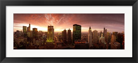 Framed Sunset cityscape Chicago IL USA Print