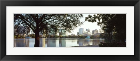 Framed Lake Eola, Orlando, Florida (black & white) Print