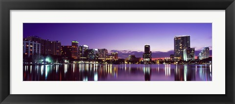Framed Buildings lit up at night in a city, Lake Eola, Orlando Print
