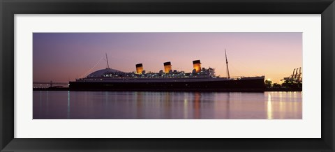 Framed RMS Queen Mary in an ocean, Long Beach, Los Angeles County, California, USA Print